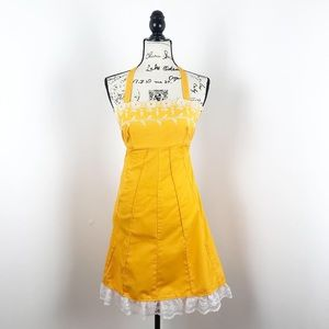 Vintage 1979's halter dress yellow embroidered